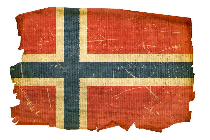 Norwegian Flag old, isolated on white background.