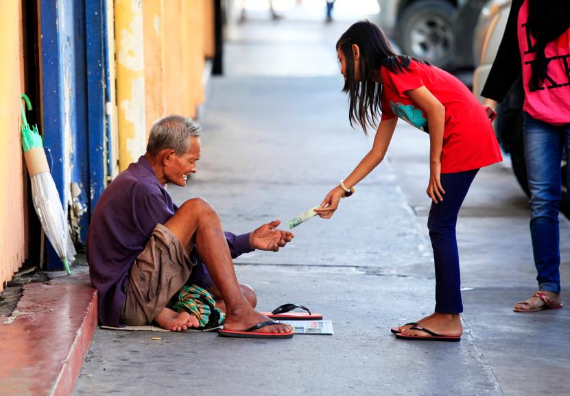 Homeless begger begging