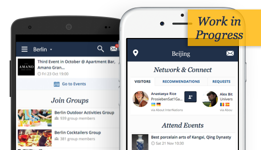 A preview of the upcoming InterNations apps for iOS and Android