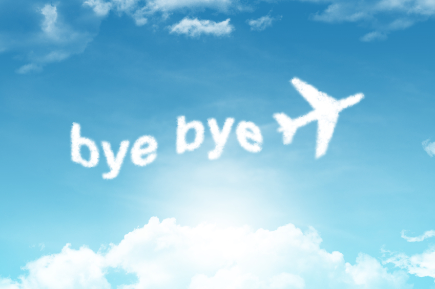 bye bye-cloud text on blue sky background