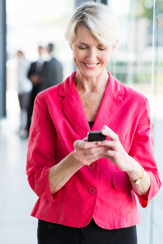 senior businesswoman using smart phone