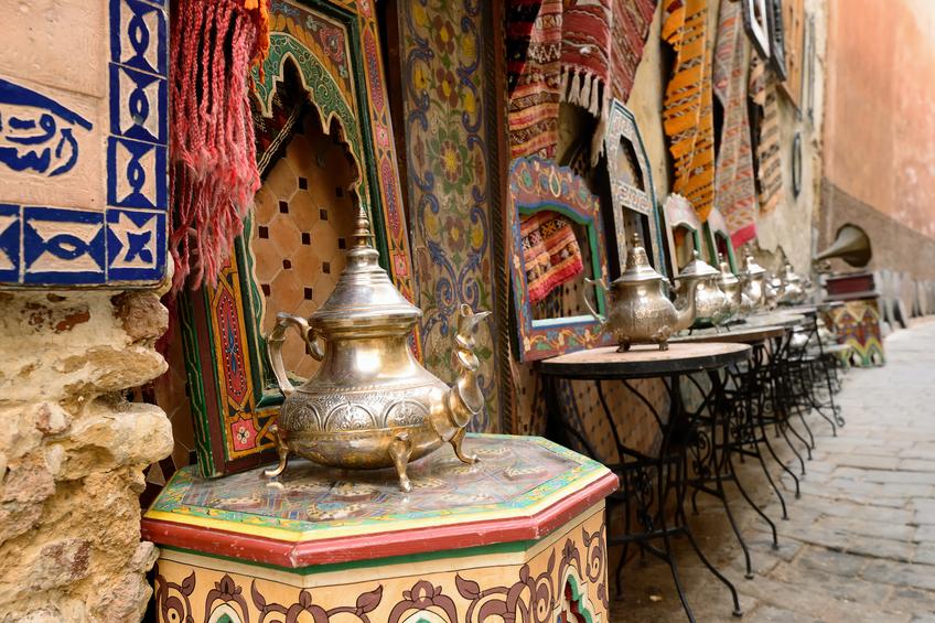 Souk (bazaar) in the Moroccan old town - Medina